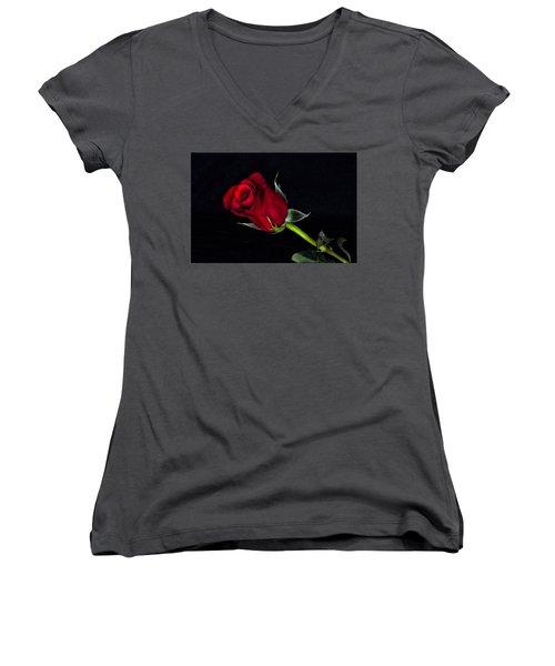Forever Lasting Rose  Women's V-Neck T-Shirt (Junior Cut) by Betty Pauwels