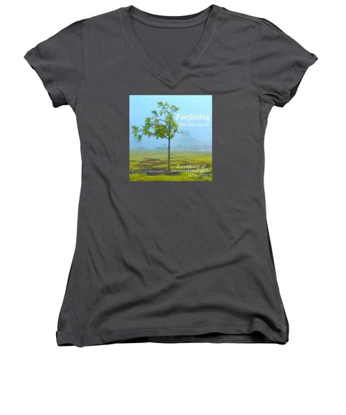 Women's V-Neck T-Shirt (Junior Cut) featuring the photograph Forfeiting Last Word - No.2015 by Joe Finney