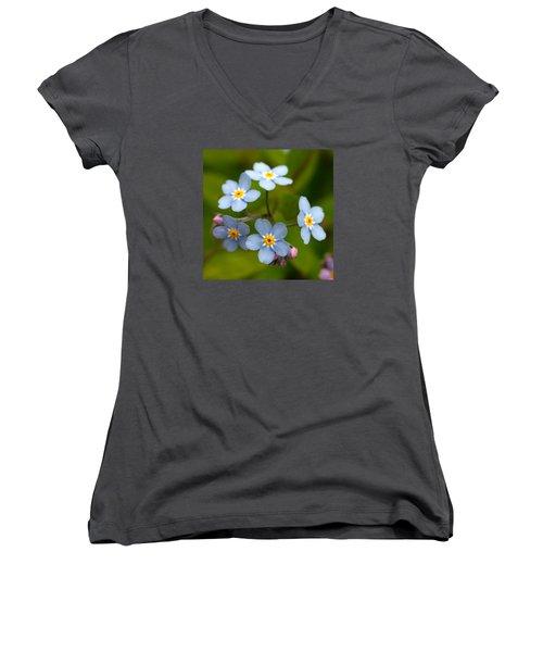 Forget-me-not Women's V-Neck T-Shirt (Junior Cut) by Jouko Lehto