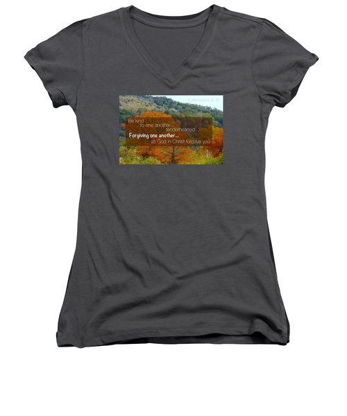Forgiveness1 Women's V-Neck T-Shirt (Junior Cut) by David Norman