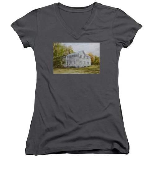 Women's V-Neck T-Shirt featuring the painting Forgotten By Time by Joel Deutsch
