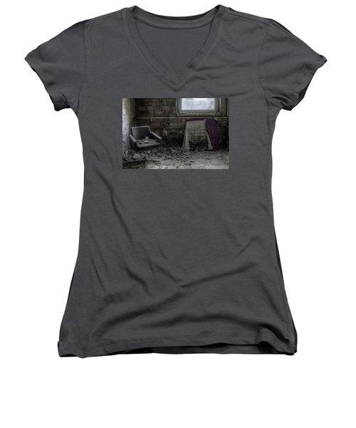 Women's V-Neck T-Shirt (Junior Cut) featuring the digital art Forgotten Ideologies by Nathan Wright