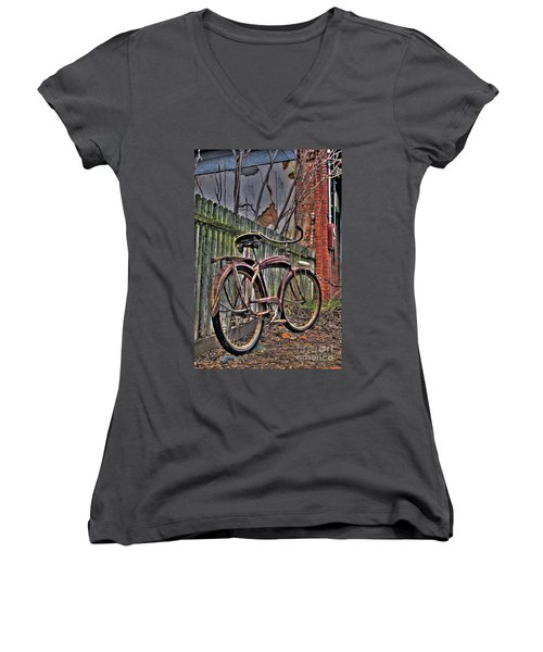 Women's V-Neck T-Shirt (Junior Cut) featuring the photograph Forgotten Ride 2 by Jim and Emily Bush