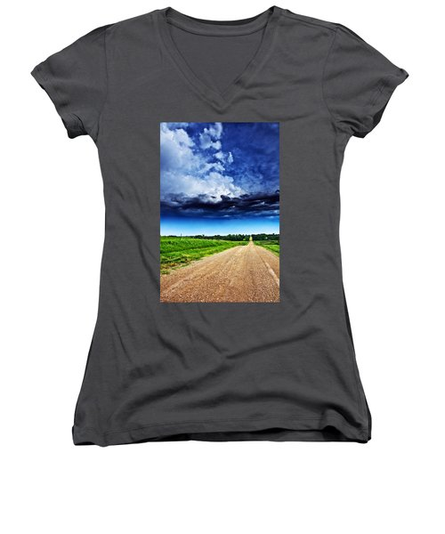 Forming Clouds Over Gravel Women's V-Neck T-Shirt