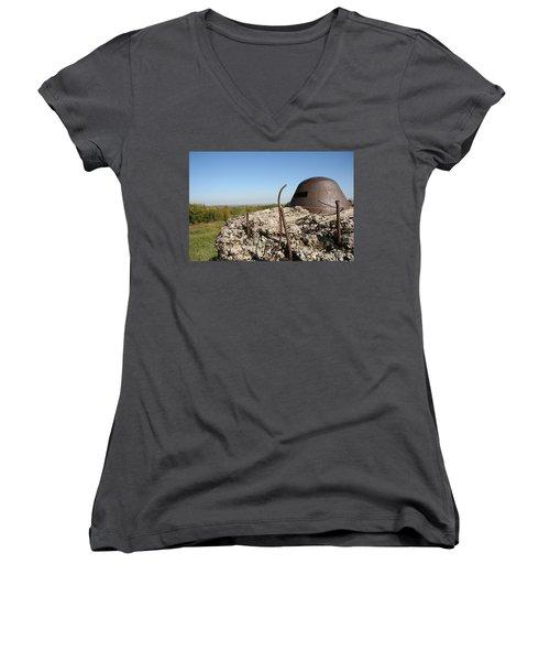 Women's V-Neck T-Shirt (Junior Cut) featuring the photograph Fort De Douaumont - Verdun by Travel Pics