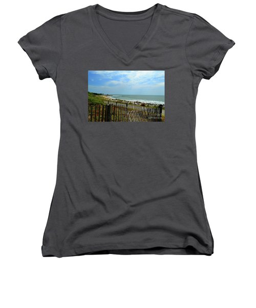 Fort Fisher Beach Women's V-Neck T-Shirt