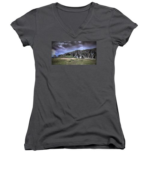 Women's V-Neck T-Shirt (Junior Cut) featuring the photograph Fort Fisher Stormy Sunset by Phil Mancuso