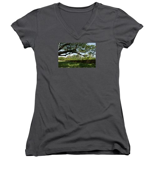 Women's V-Neck T-Shirt (Junior Cut) featuring the photograph Fort Galle by Christian Zesewitz