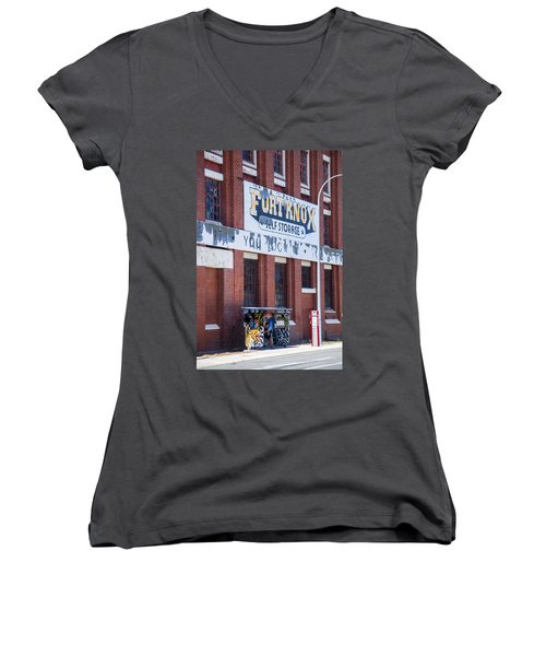 Fort Knox Women's V-Neck T-Shirt (Junior Cut) by Serene Maisey