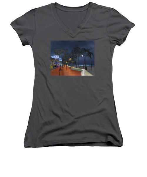 Fort Lauderdale Beach At Night Women's V-Neck T-Shirt