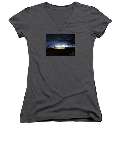 Lightening At Castillo De San Marco Women's V-Neck T-Shirt (Junior Cut) by LeeAnn Kendall