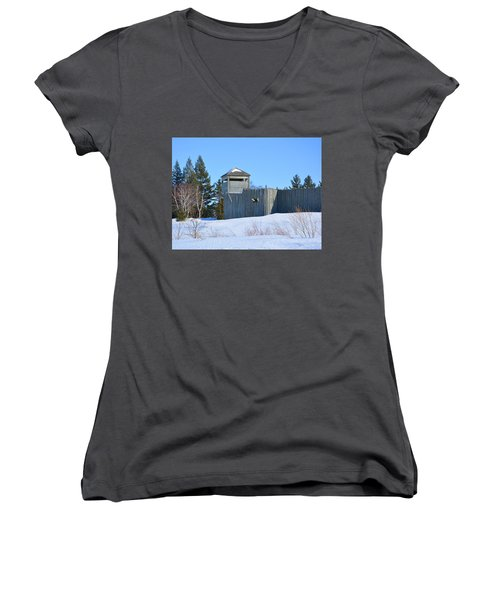 Fort Michilimackinac Northeast Blockhouse Women's V-Neck (Athletic Fit)