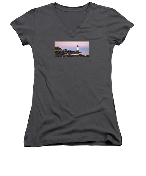Fort Pickering Lighthouse, Harvest Supermoon, Salem, Ma Women's V-Neck (Athletic Fit)