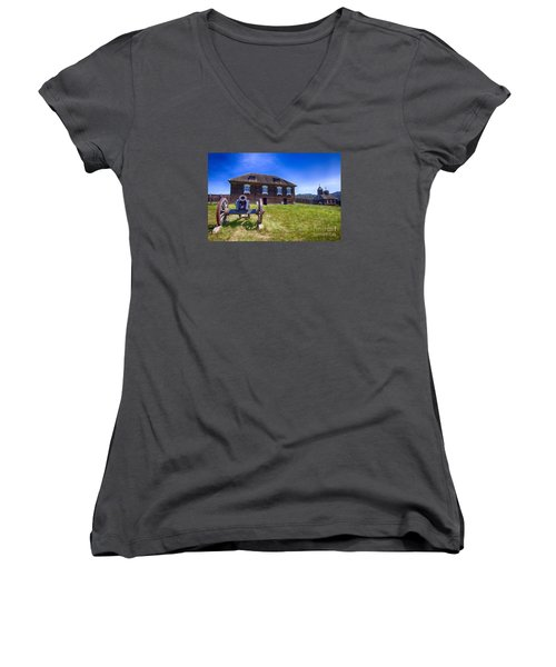 Women's V-Neck T-Shirt (Junior Cut) featuring the photograph Fort Ross State Historic Park by Jason Abando