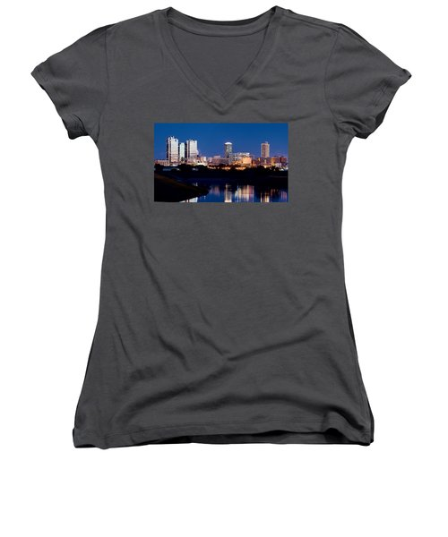 Fort Worth Skyline At Night Poster Women's V-Neck T-Shirt