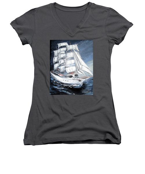 Fortunate. Sailing Ship Women's V-Neck (Athletic Fit)