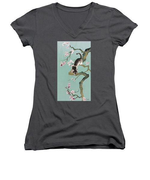 Fortune Cat In Cherry Tree Women's V-Neck (Athletic Fit)