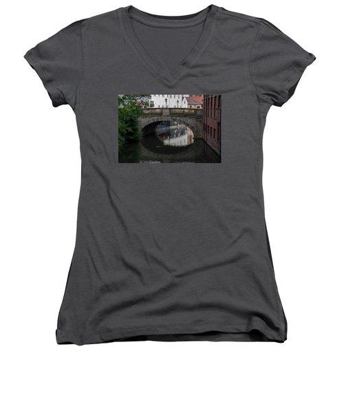 Women's V-Neck T-Shirt (Junior Cut) featuring the photograph Foss Bridge - York by Scott Lyons