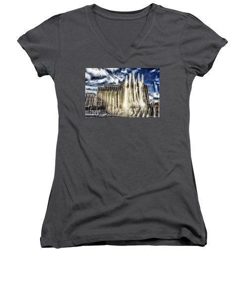 Women's V-Neck T-Shirt (Junior Cut) featuring the photograph Fountain Of Love by Michael Rogers