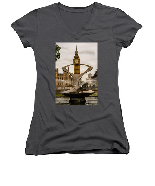 Fountain With Big Ben Women's V-Neck
