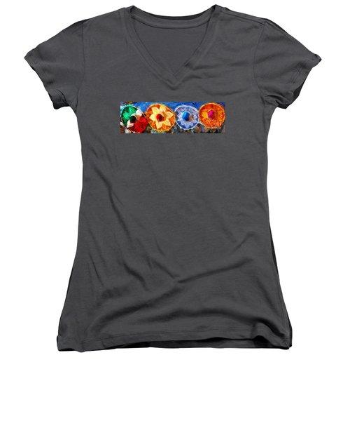Four Amigos In Cozumel Women's V-Neck T-Shirt
