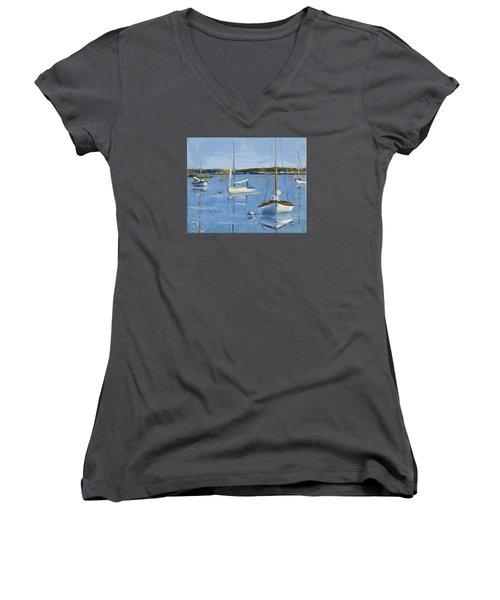 Four Daysailers Women's V-Neck T-Shirt (Junior Cut) by Trina Teele