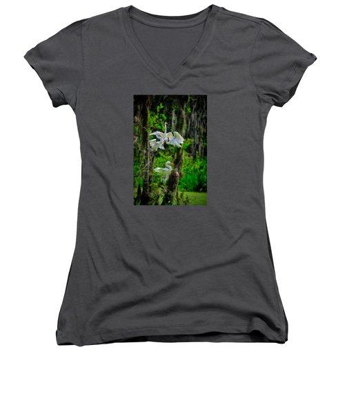Four Egrets In Tree Women's V-Neck