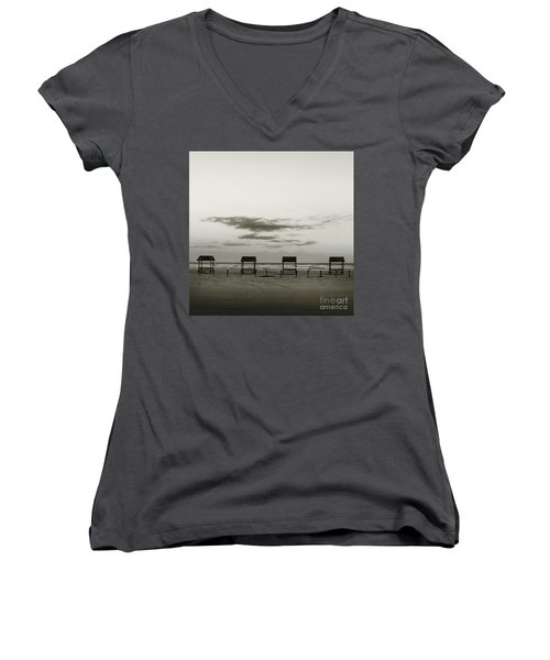 Four On The Beach Women's V-Neck T-Shirt (Junior Cut) by Sebastian Mathews Szewczyk
