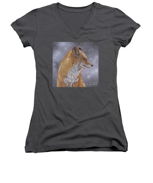 Fox In A Flurry Women's V-Neck