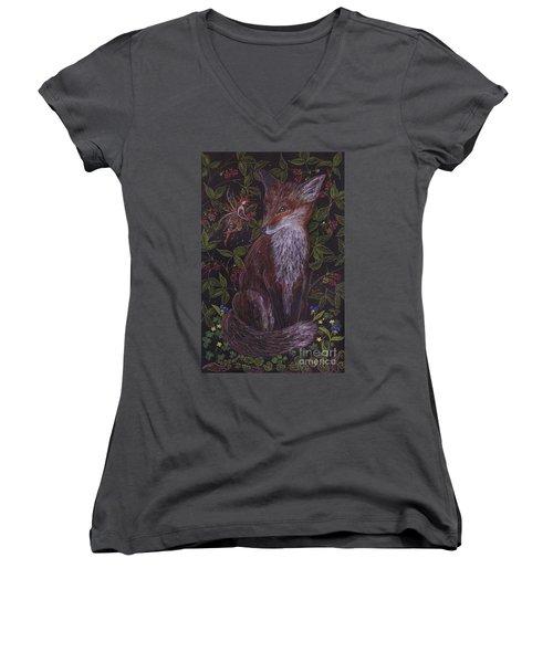 Fox In The Berry Bushes Women's V-Neck T-Shirt (Junior Cut) by Dawn Fairies
