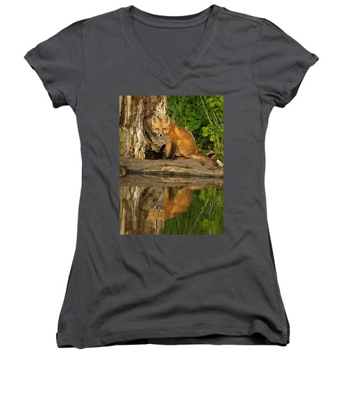 Fox Reflection Women's V-Neck T-Shirt (Junior Cut) by James Peterson