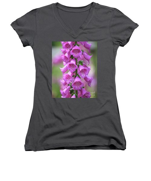 Women's V-Neck T-Shirt featuring the photograph Foxglove Flowers by Edward Fielding