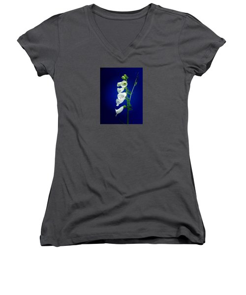Foxgloves On  Blue Women's V-Neck T-Shirt (Junior Cut) by Mike Breau