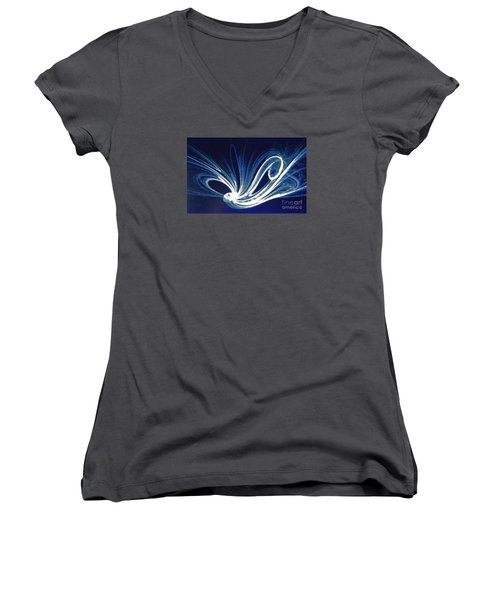 Women's V-Neck T-Shirt (Junior Cut) featuring the photograph Fractal Wonder In Blue And White by Merton Allen