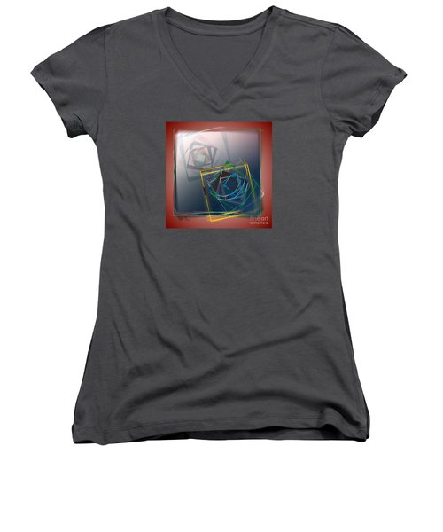 Women's V-Neck T-Shirt (Junior Cut) featuring the digital art Fragments Of Movement by Leo Symon