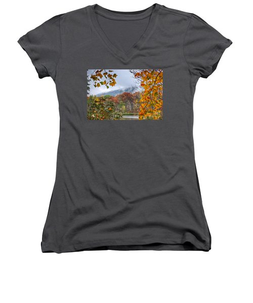 Framed By Fall Women's V-Neck T-Shirt (Junior Cut) by Kerri Farley