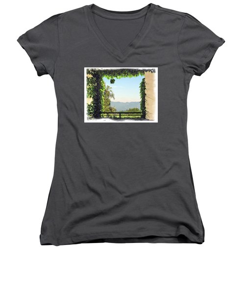 Women's V-Neck T-Shirt (Junior Cut) featuring the photograph Framing Napa Valley by Joan  Minchak