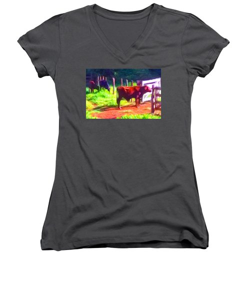Franca Cattle 2 Women's V-Neck T-Shirt (Junior Cut) by Caito Junqueira