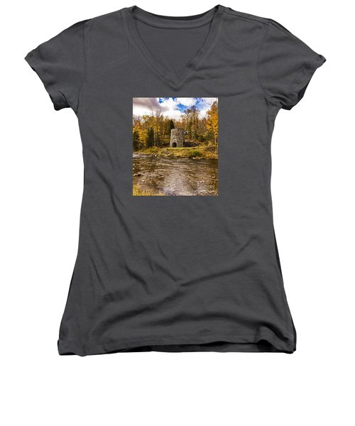 Women's V-Neck T-Shirt (Junior Cut) featuring the photograph Franconia Fall by Anthony Baatz