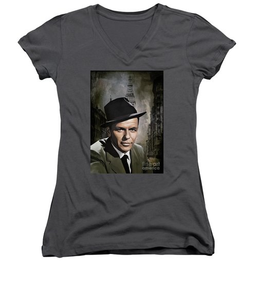 Women's V-Neck T-Shirt (Junior Cut) featuring the painting  Frank Sinatra by Andrzej Szczerski