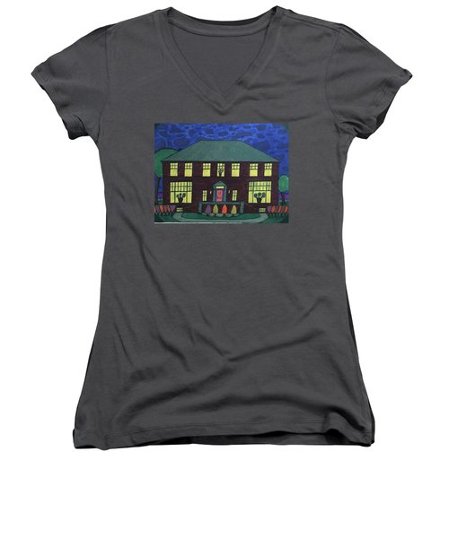 Frank Spies Home. Historical Menominee Art. Women's V-Neck T-Shirt