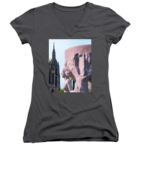 Frankfurt 10 Women's V-Neck T-Shirt (Junior Cut) by Steven Richman