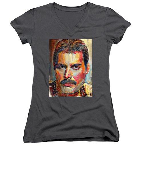 Freddie Mercury Colorful Portrait Women's V-Neck T-Shirt