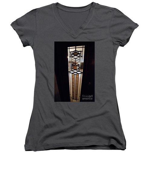 Frederick Robie House - 3 Women's V-Neck T-Shirt (Junior Cut) by David Bearden