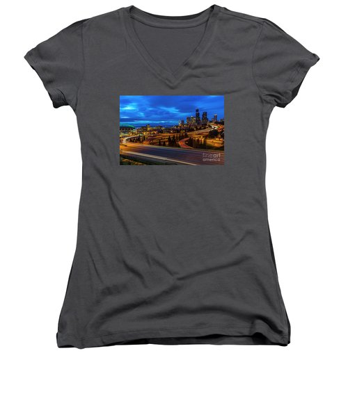 Freeway 5 North To Seattle Women's V-Neck