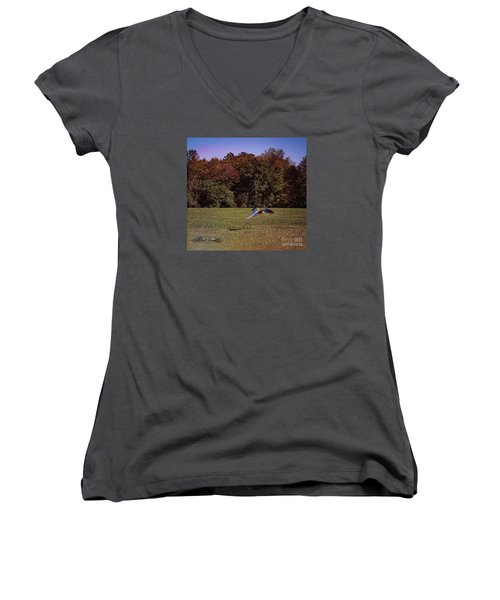 Free Flighted Macaw Women's V-Neck T-Shirt (Junior Cut) by Melissa Messick