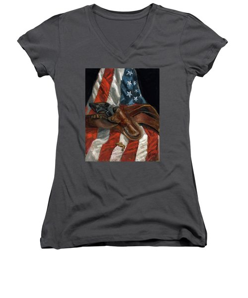 Freedom Women's V-Neck T-Shirt (Junior Cut) by Billie Colson