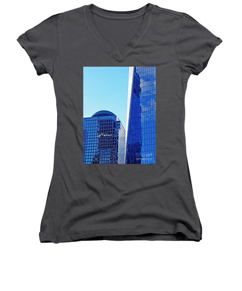 Women's V-Neck T-Shirt (Junior Cut) featuring the photograph Freedom Tower And 2 World Financial Center by Sarah Loft