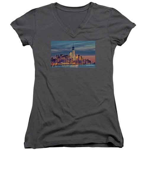 Freedom Tower Construction End Of 2013 Women's V-Neck (Athletic Fit)