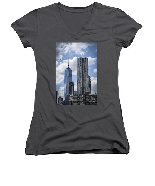 Freedom Tower Women's V-Neck T-Shirt (Junior Cut) by Judy Wolinsky